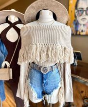 Load image into Gallery viewer, Sweater Knit O/S Fringe Top