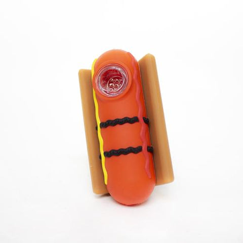 Hot Dog Silicone Hand Pipe - Colors May Vary -  (3 Count)