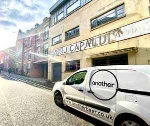 Another Beer delivery van outside the new home of the brewery, Capaldi's Ice Cream Factory on Fetter Lane, York.