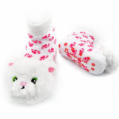 White Furball Kitty Socks
