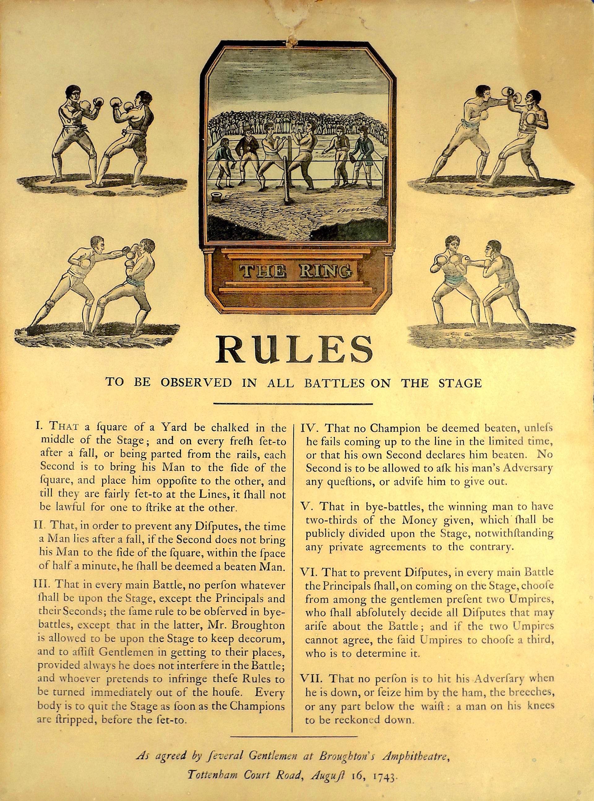 The first boxing rules, called the Broughton's rules, were introduced by English champion bare knuckle fighter Jack Broughton, known as the the father of english boxing in 1743.