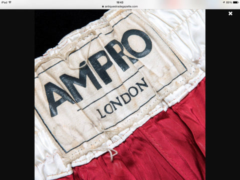 official ampro boxing shorts worn by ali in his bout against henry cooper