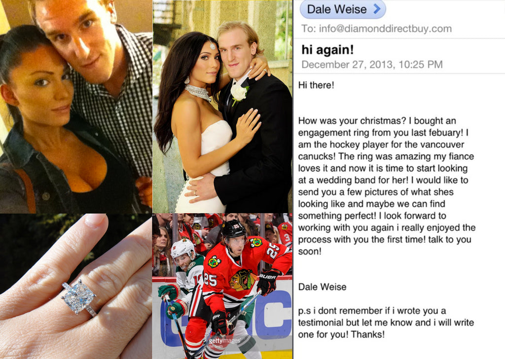 Celebrity Clients:  NHL Pro Hockey Player DALE WEISE  bought his ENGAGEMENT ring from me!
