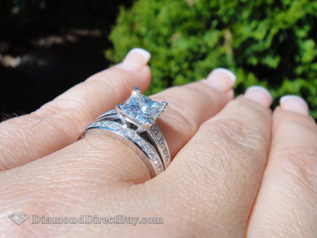 1.50 H Si1 Princess Cut Gia 2.20Ct Total In The Set Wow Engagement Rings