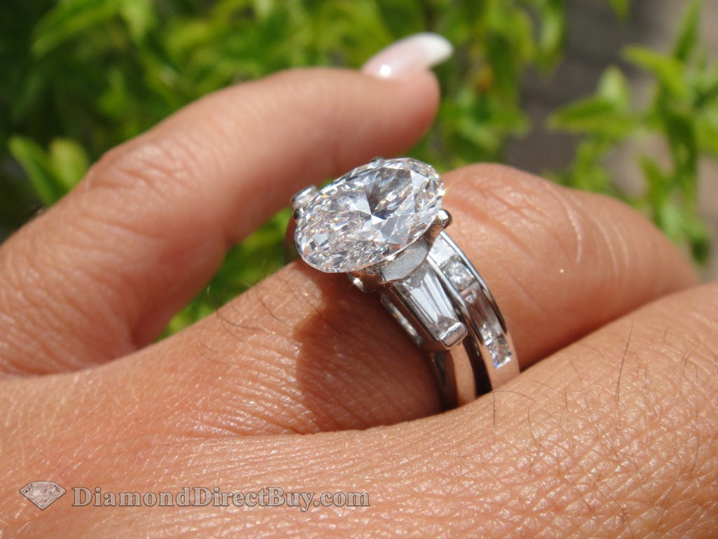 1.70 Plat Oval Diamond Solitaire Ring With Baguettes Engagement Rings