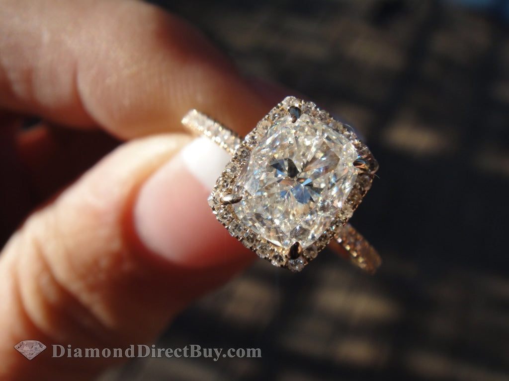 2.00 Carat Delicate Halo With 1.50 Igi Cushion Cut Center Engagement Rings
