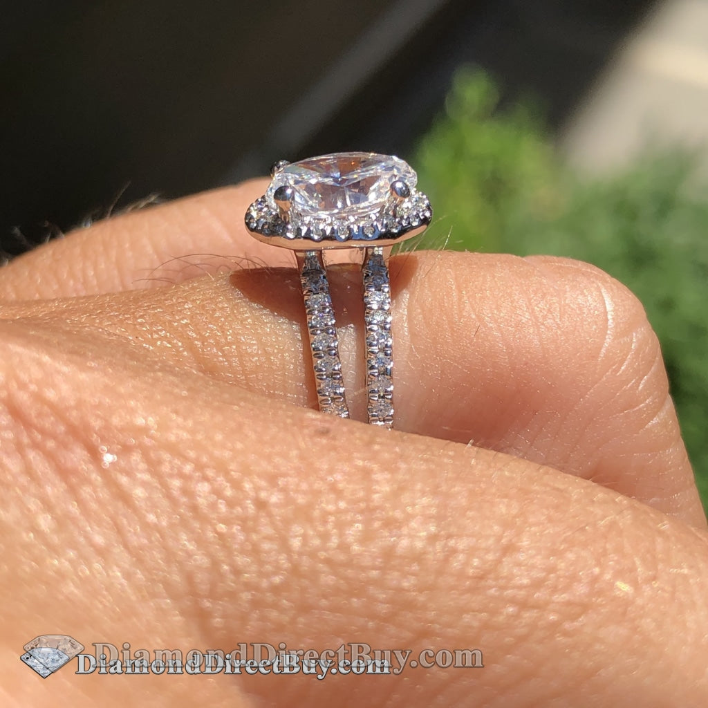 2.00 Carat Halo Oval Diamond Ring I/vs1 Gia Engagement Rings