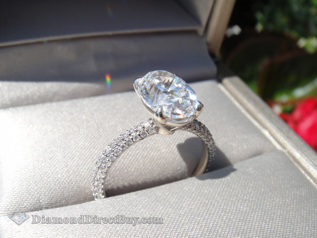 2.00 Oval Pave Diamond Ring Engagement Rings