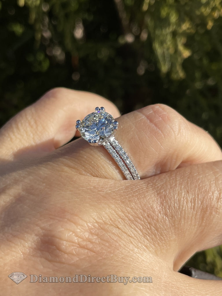 2.00 Pave Set With Double Prongs Engagement Rings