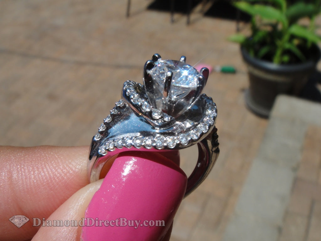 2.00 Unique Custom Twist Halo Setting Gia Ring Engagement Rings