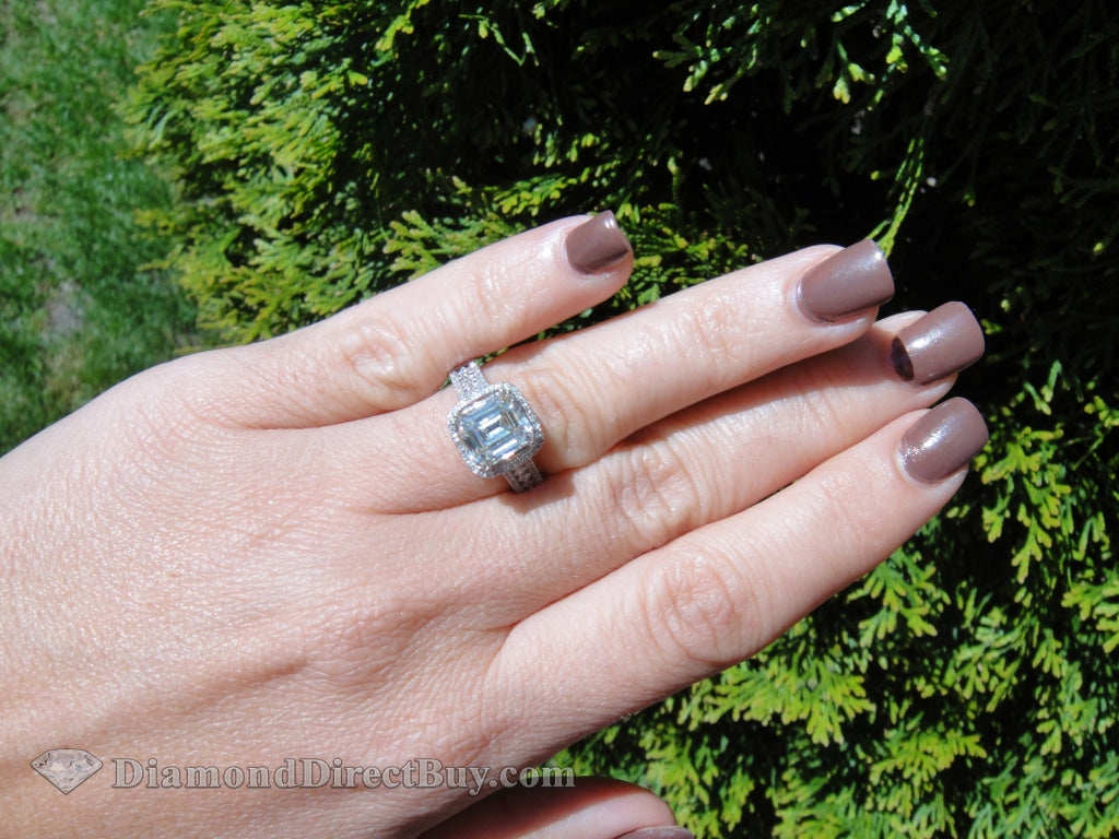 2.01 Emerald Diamond Center In Custom Made Setting Wow! Engagement Rings