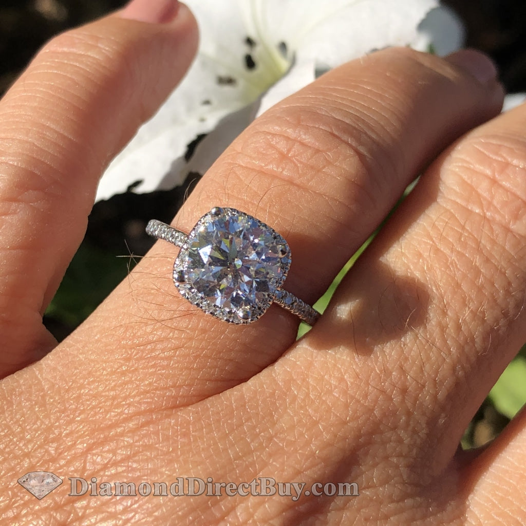 2.10 Carat Gia Certified Halo Ring 1.5Ct I Vs1 Center Engagement Rings