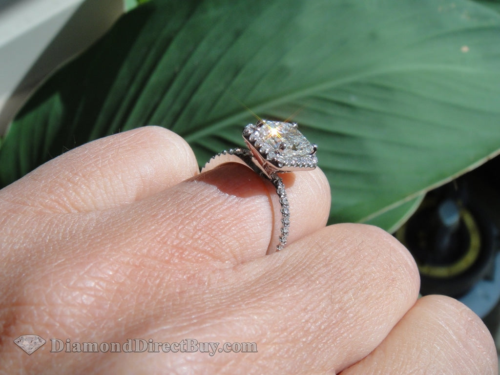 2.20 Radiant Halo Ring Engagement Rings