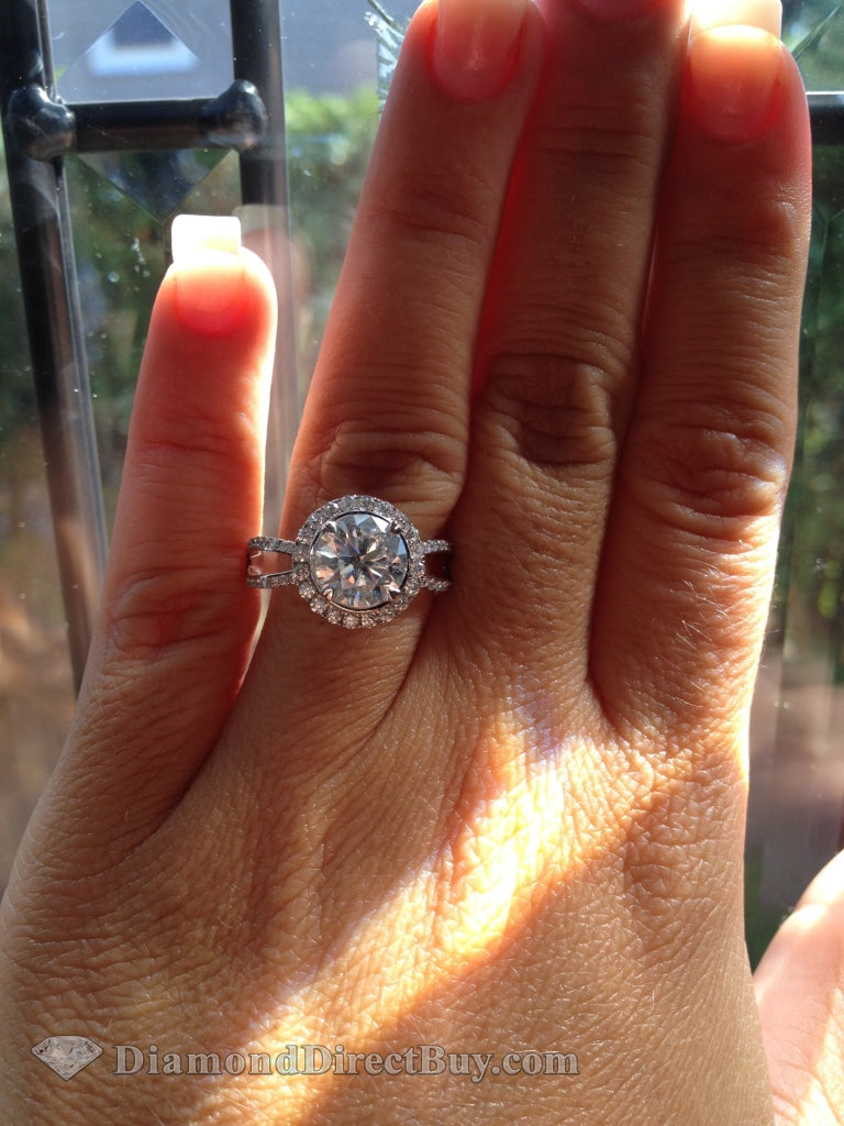 2.30 Carat Halo With Loop Sides Diamond Engagegemt Ring Engagement Rings