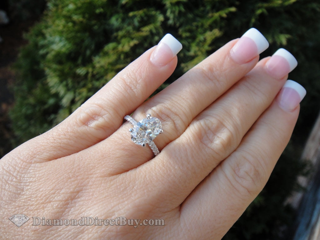 2.50 Oval Diamond Ring Set 1.50 Gia Center +Wedding Band Engagement Rings