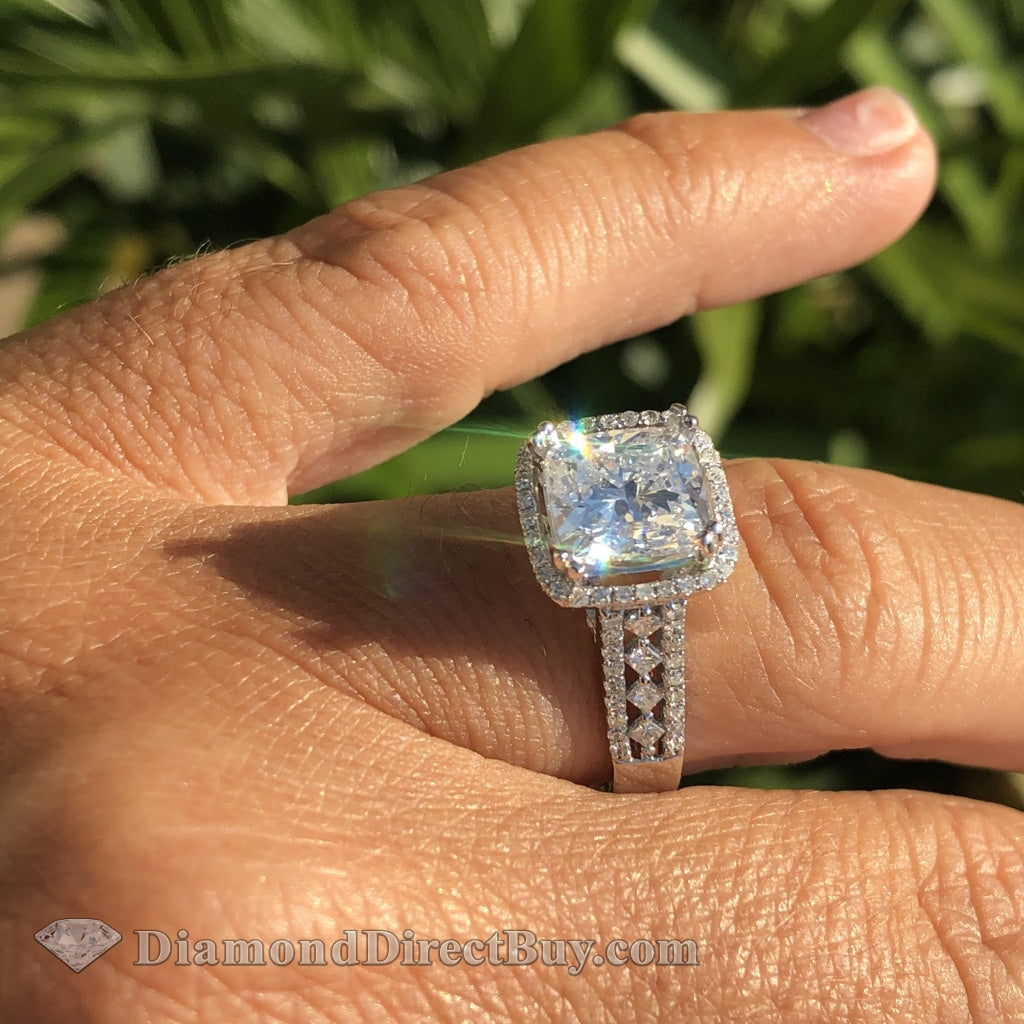 2.50 Spectacular Diamond Ring With 2.01 Cushion Gia Center Plus Setting Engagement Rings