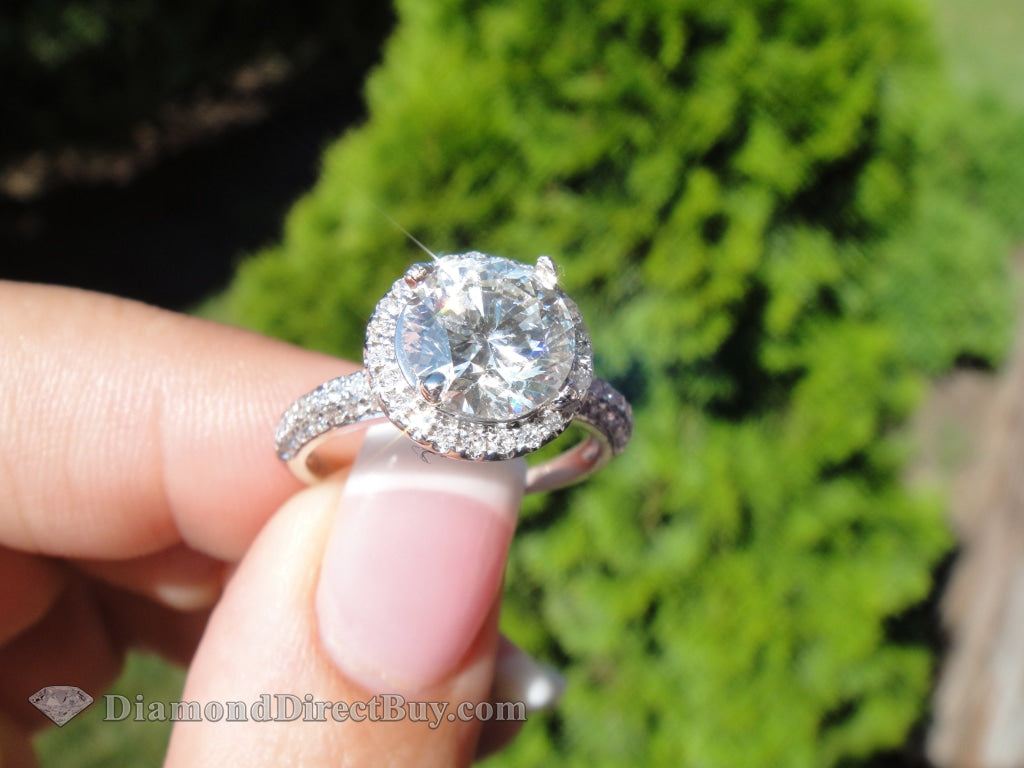 2.70 F Vs2 Halo Pave Ring Engagement Rings