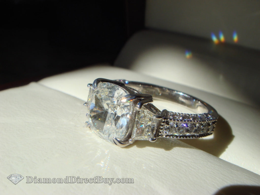 3.00 Carat Cushion With Trapezoid Sides Engagement Rings