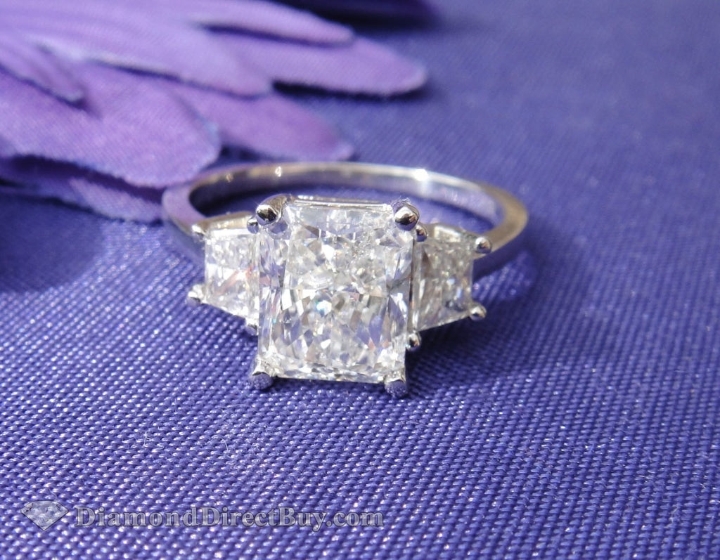 3.00 Carat Radiant Diamond Ring With Sides
