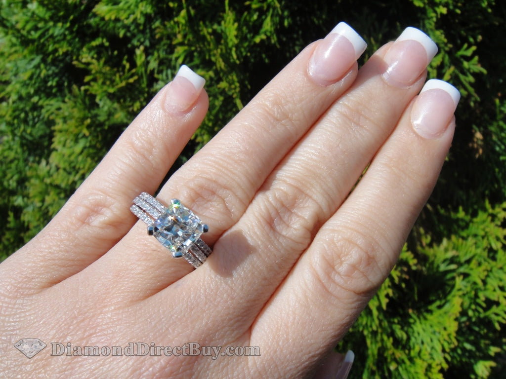 3.5 Carat Set Cushion Pave With Band Engagement Rings