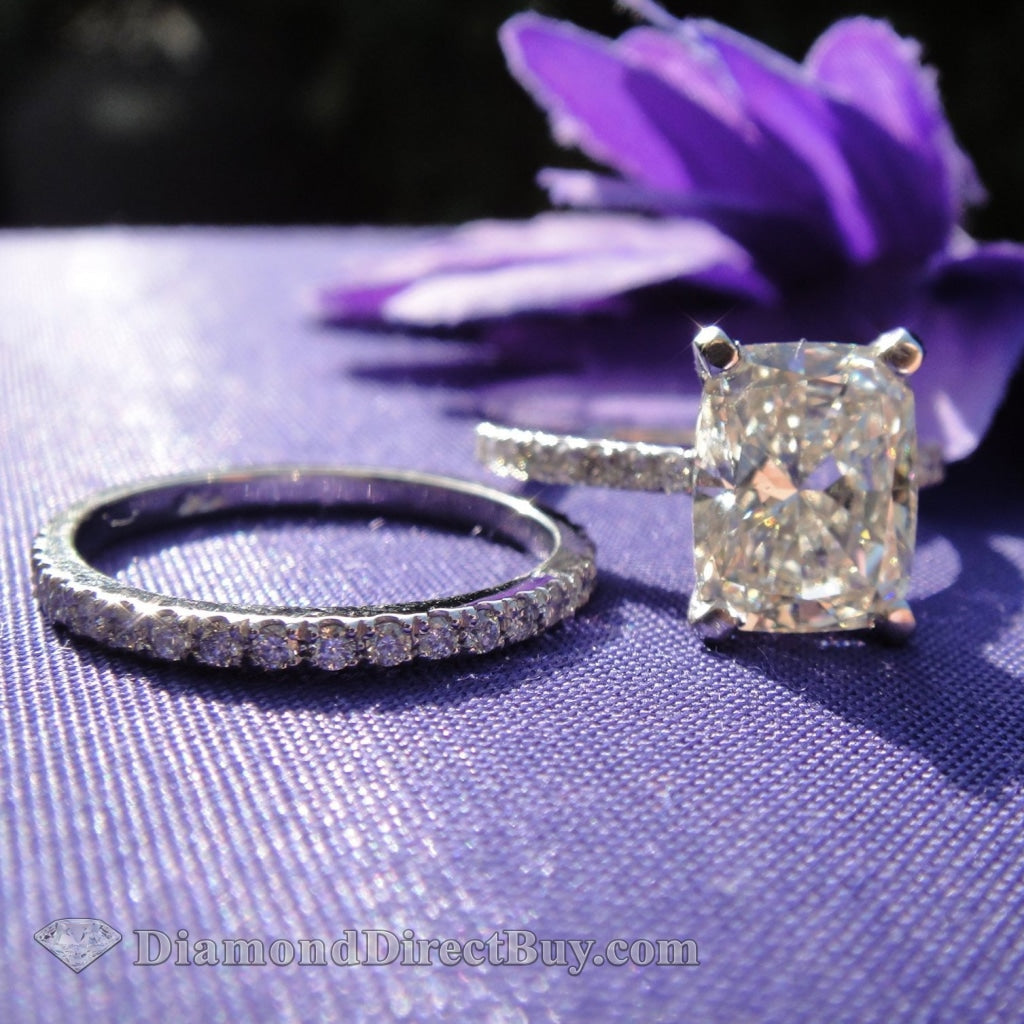 4.00 Gia Cushion Engagement Ring With Micro Pave Band Rings