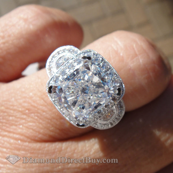 4.50 Gia Cushion Diamond Ring 2.50 I Vs1 Center Wow Engagement Rings