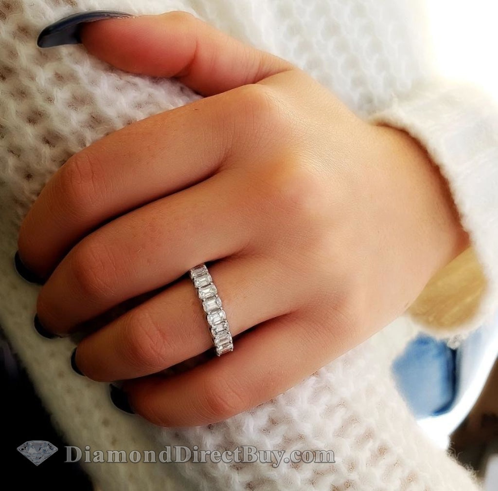 5 - 5.25 Emerald Cut Eternity Band Engagement Rings