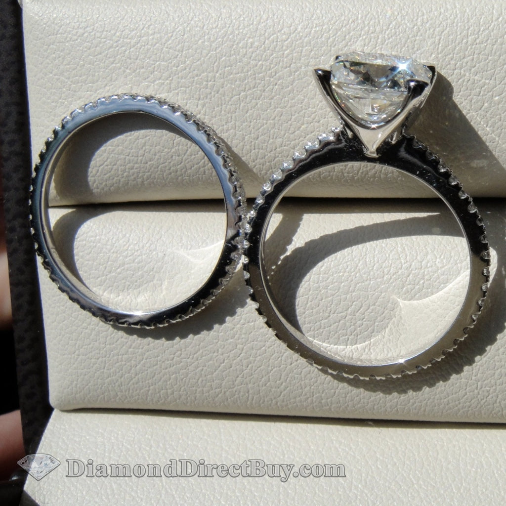 5.51 Wedding Set 4.01 I Vs2 Center Cushion Engagement Rings