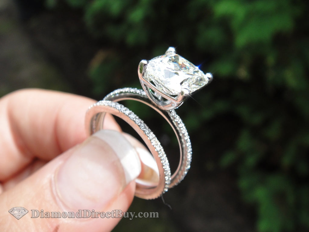 6.00 Ct Set With Matching Band 5.ct Gia Cushion Center Engagement Rings