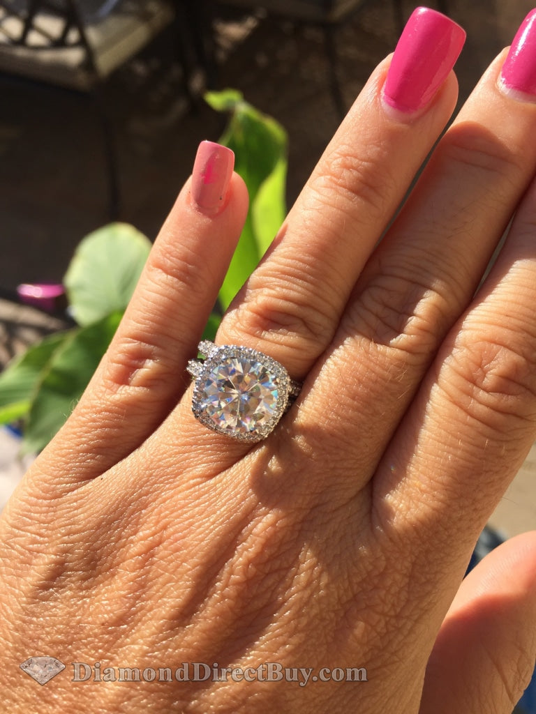 9.03 Platinum Setting Set With 5 Carat Gia Vs1 Ex Center Engagement Rings