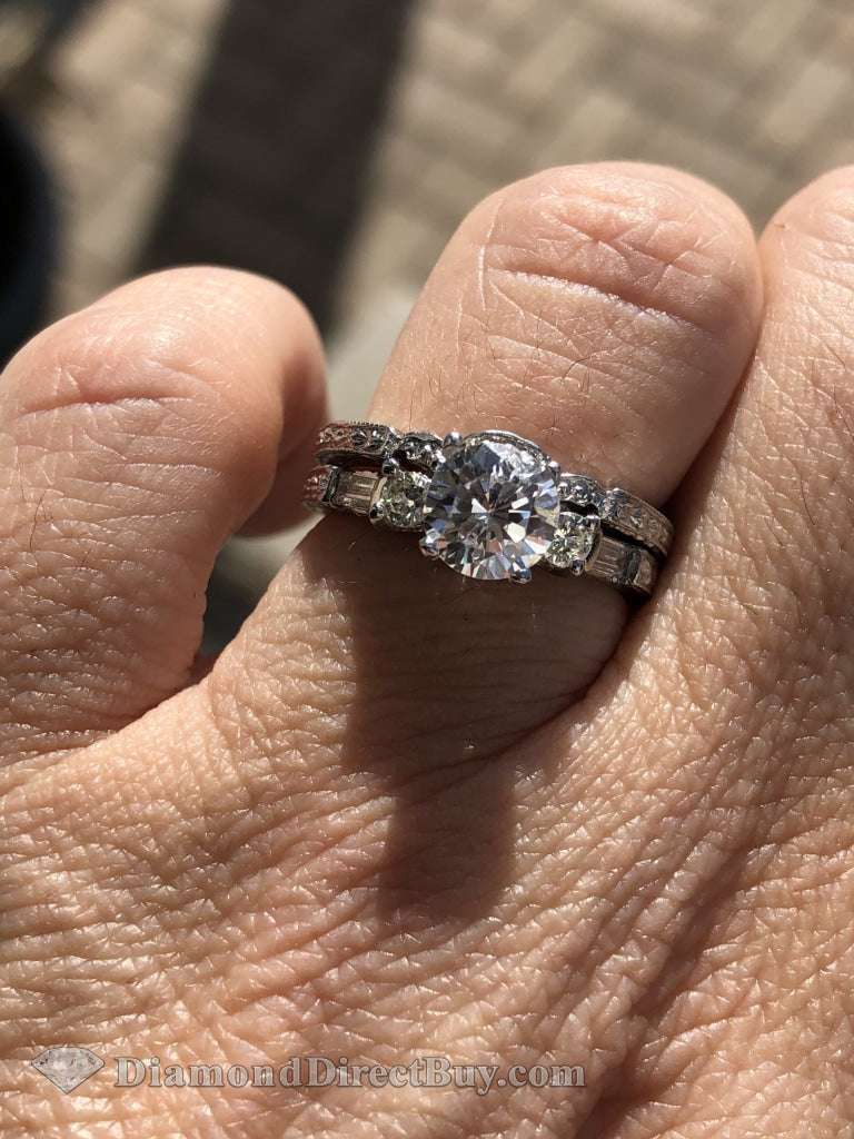 Authentic Platinum Set With A 1.20 F Vs1 Center Wow ! Engagement Rings