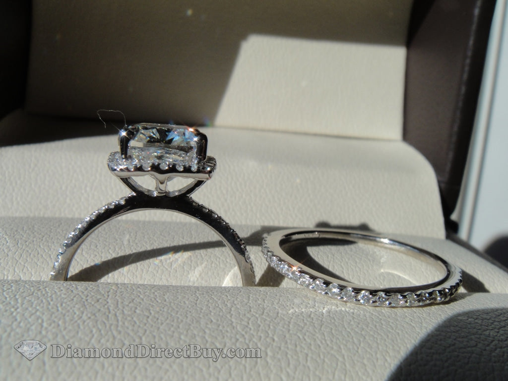 Cushion Elongated Halo And Band 3.07 Ring Engagement Rings