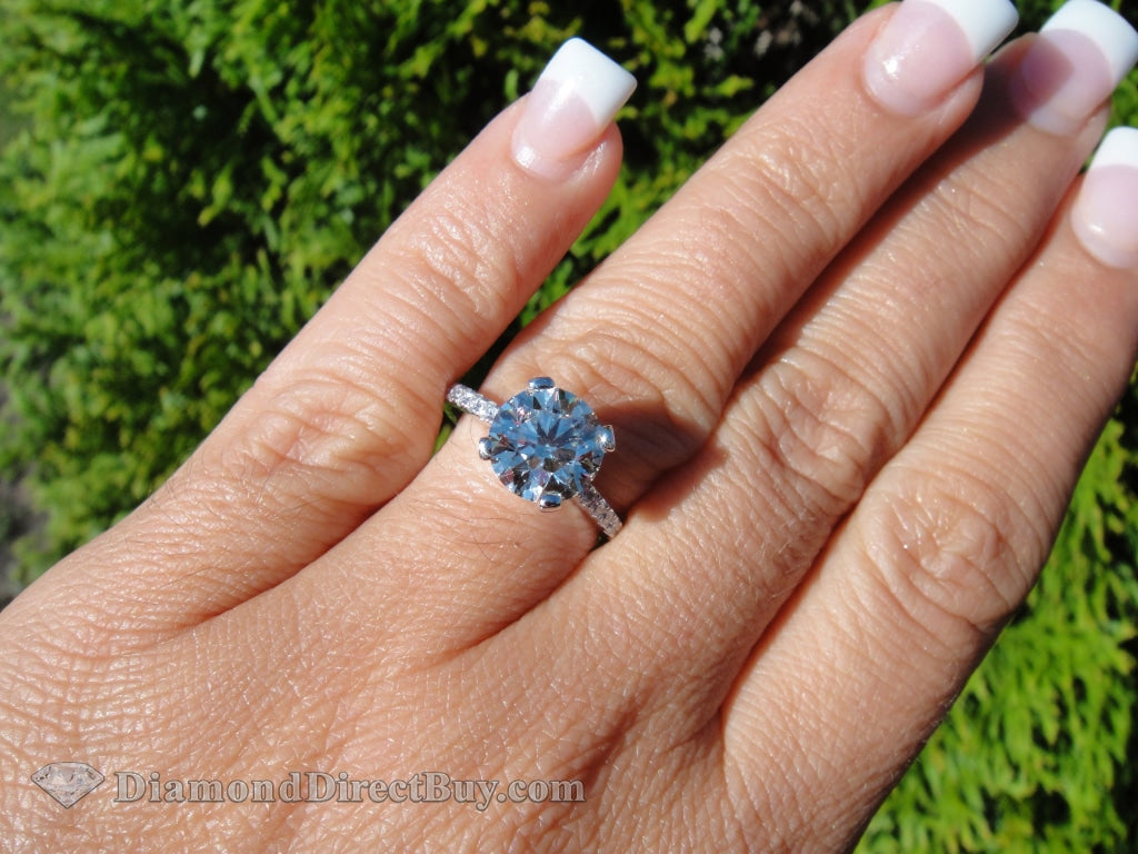 Pave Diamond Band Solitaire Engagement Rings