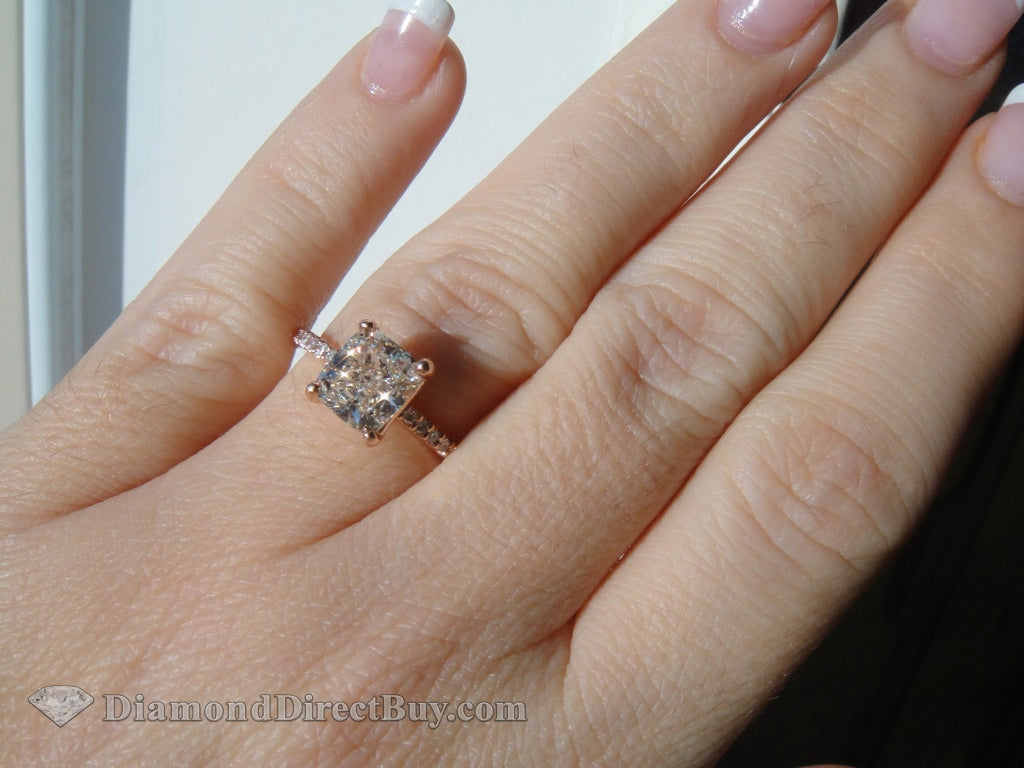 Rose Gold Pave Cushion Solitaire Engagement Rings