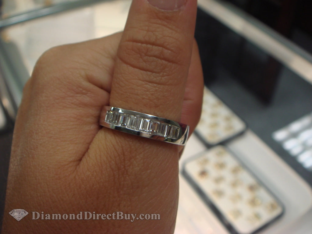 Vertical Baguette Platinum Mens Ring Rings