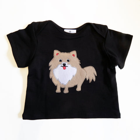 Baby Tee Black with Pomeranian