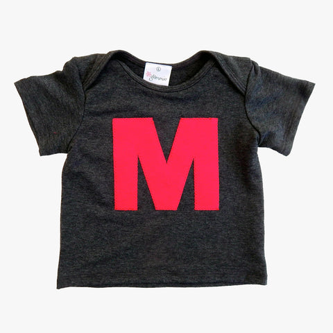 Baby Tee Charcoal with Letter