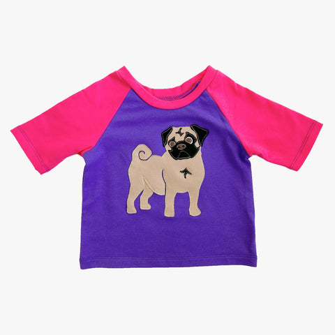 Raglan 1 Year Baby Tee with Pug