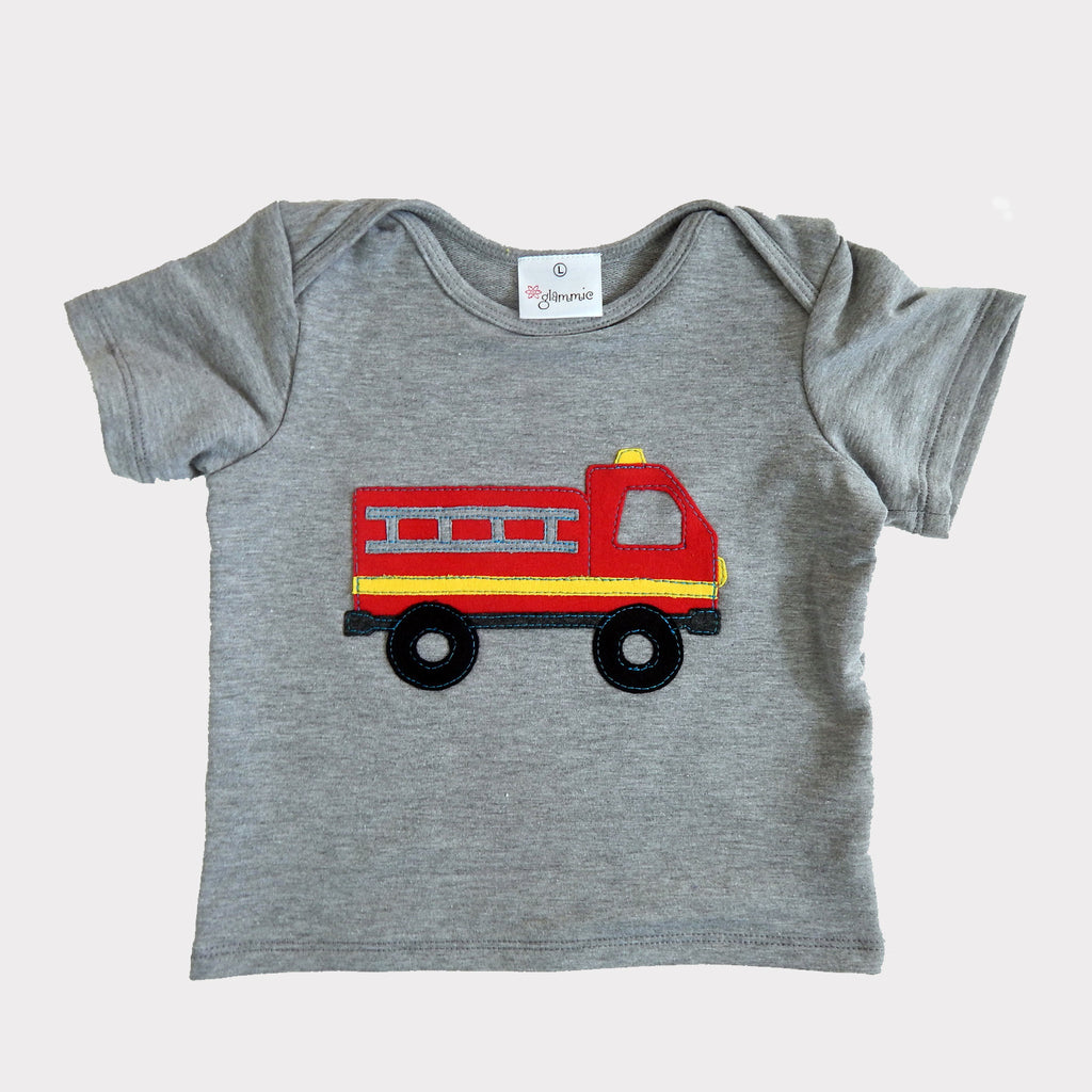 Baby Tee Grey with Firetruck