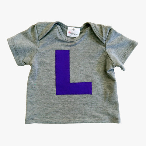 Baby Tee Grey with Letter