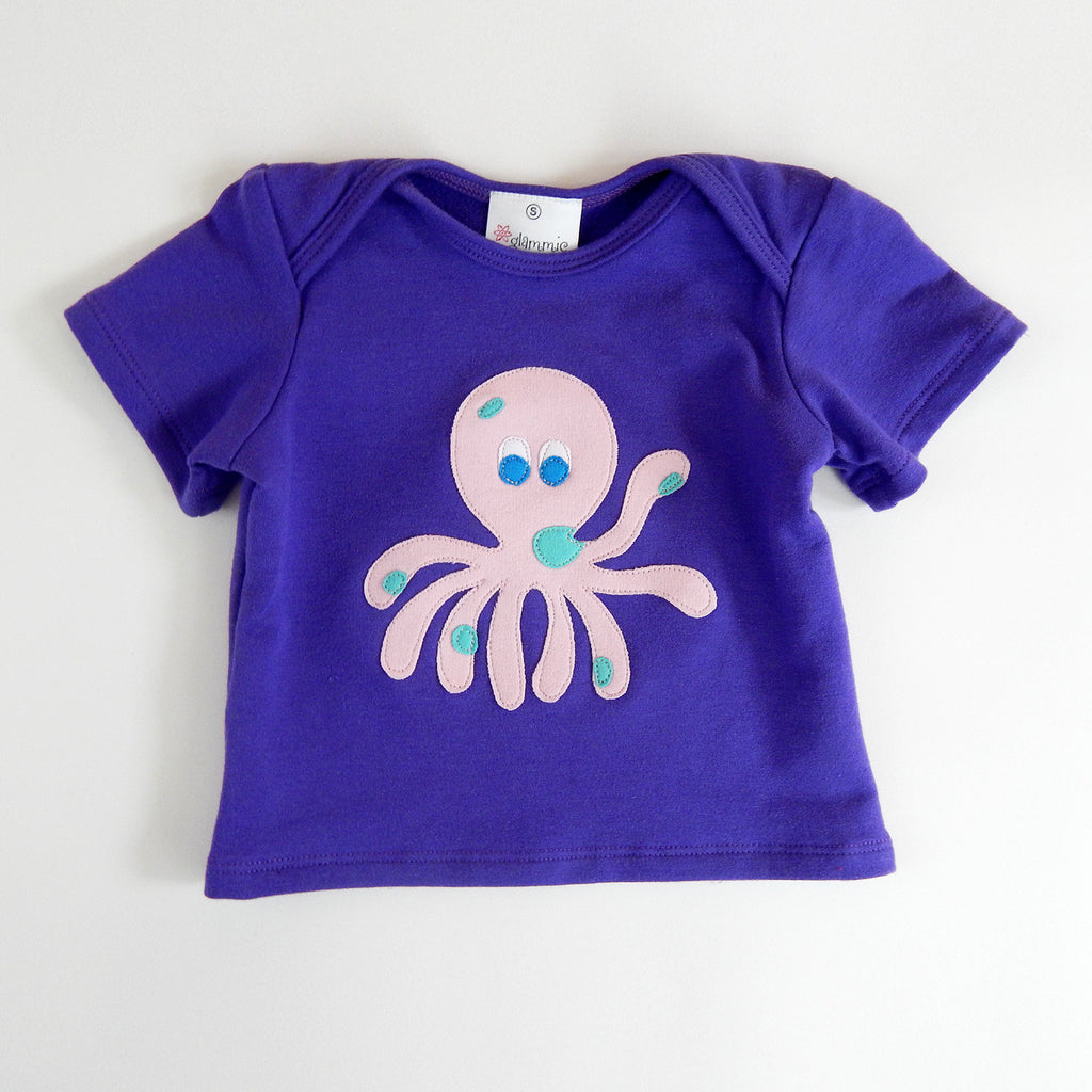 Baby Tee Purple with Octopus
