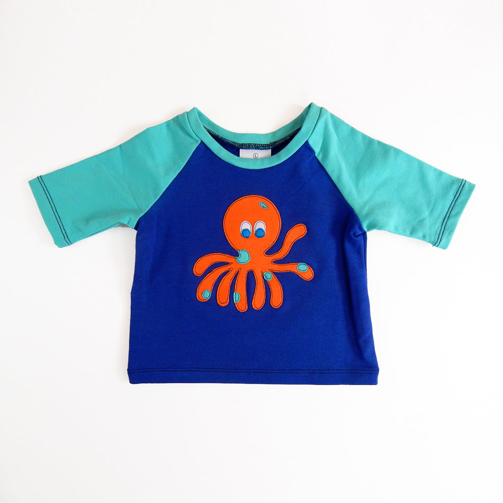 Raglan 1 Year Baby Tee with Octopus