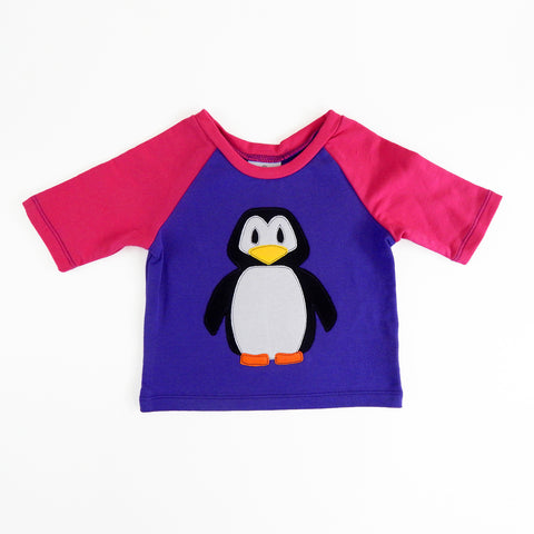 Raglan 1 Year Baby Tee with Penguin