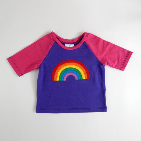 Raglan 1 Year Baby Tee with Rainbow