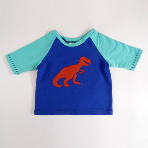 Raglan 1 Year Baby Tee with T-Rex