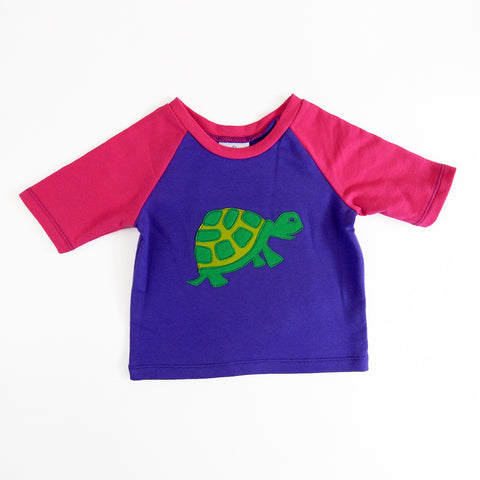 Raglan 1 Year Baby Tee with Turtle