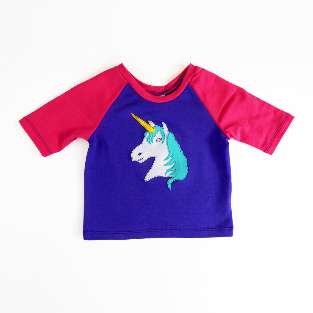 Raglan 1 Year Baby Tee with Unicorn