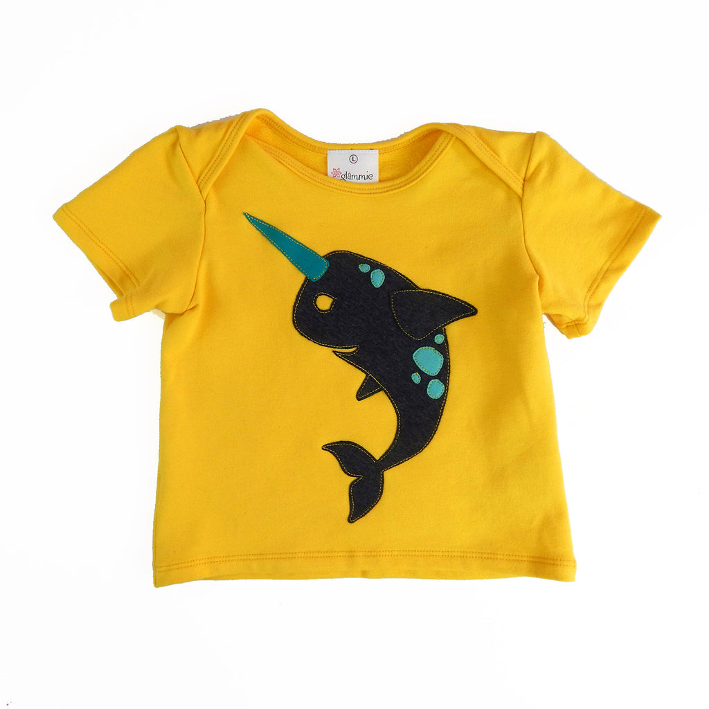Baby Tee Yellow with Narwhal