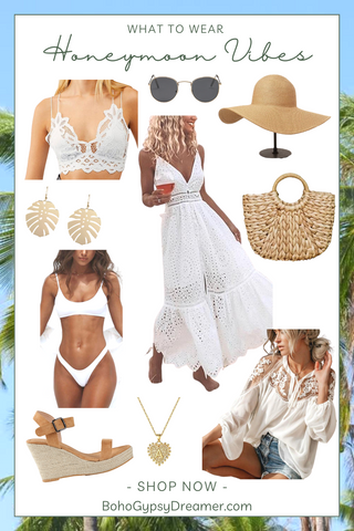 collage of bohemian style clothing and accessories designed around the ideas of what a bride should wear on her honeymoon. white dresses, white bikini, white lace blouse, sunglasses, wedge heels, rattan bag, straw hat, and lace maxi dress.
