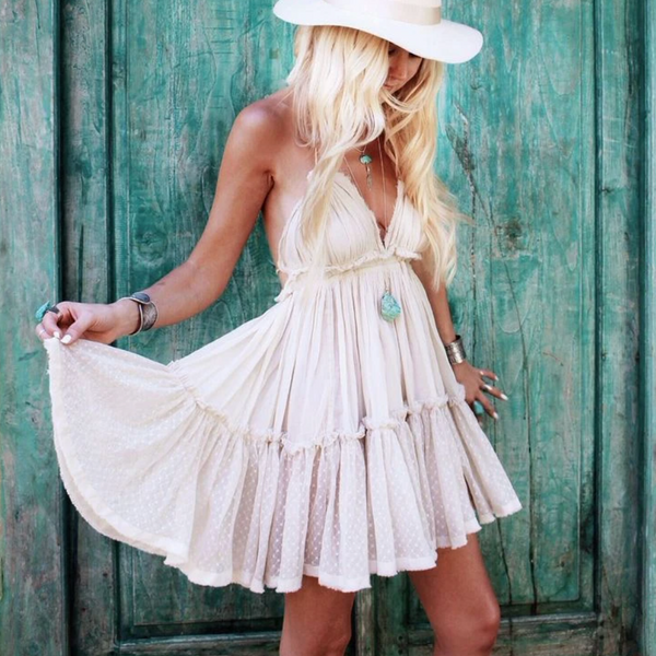 SASSY Backless Tiered Dress - Cream